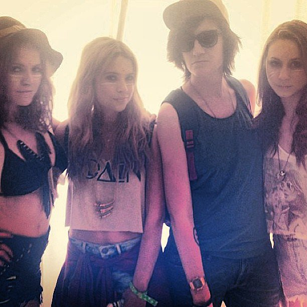 Ashley Benson posed with friends and showed off her crop-top-meets-face-paint look. Source: Instagram user itsashbenzo