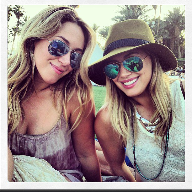 Haylie and Hilary Duff put their shades on while taking a break from Coachella festivities during day one.  Source: Instagram user haylieduff