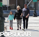 Hugh Jackman and his wife, Deborra-Lee Furness, took their daughter Ava out to walk their dog Peaches in NYC.