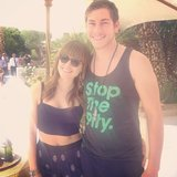 Sophia Bush smiled with a friend at the H&M USA Coachella party.  Source: Instagram user popsugar