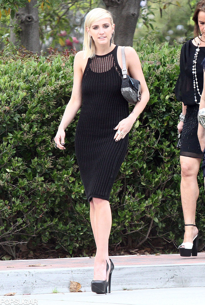 Ashlee Simpson looked beautiful on her way into a friend's Pacific Palisades, CA, wedding in April 2013.