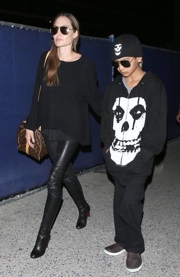 Angelina Jolie and her oldest son Maddox Jolie-Pitt landed in LA together on Friday night.