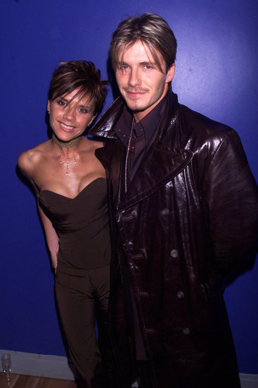 David and Victoria Beckham posed together at a London premiere in February 2000.
