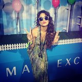 Vanessa Hudgens puckered up for the Neon Carnival at Coachella weekend one. Source: Instagram user vanessahudgens