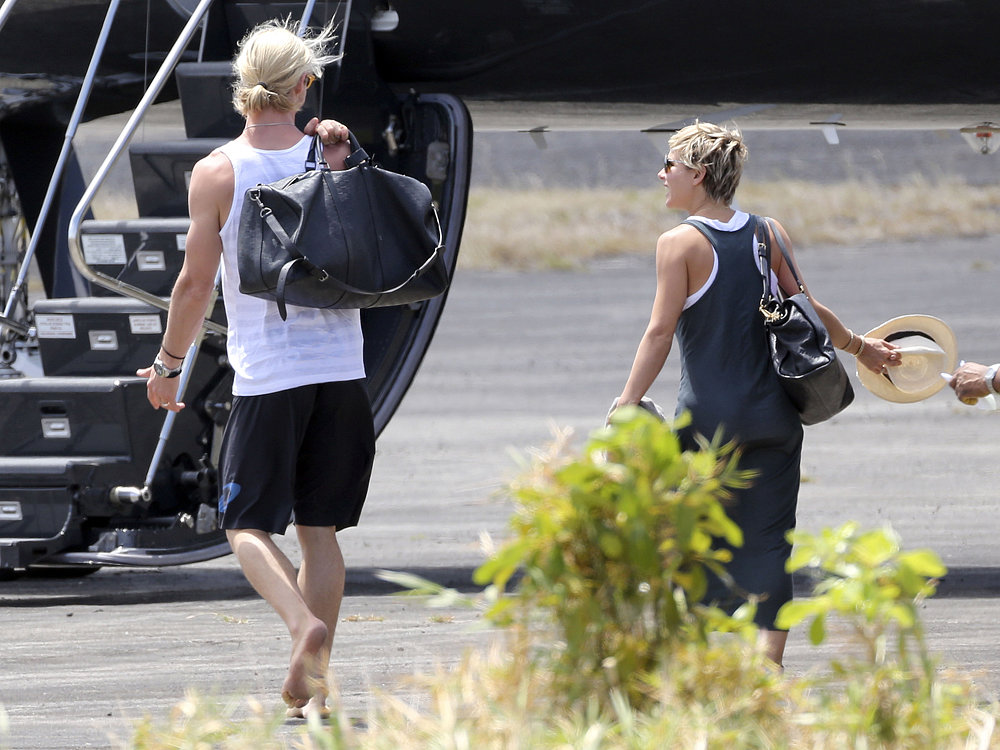 Chris Hemsworth and wife Elsa Pataky prepared to leave St. Lucia after attending Matt and Luciana Damon's wedding vow renewal ceremony in April.