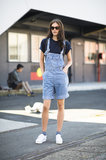 Overalls were all grown-up with cat-eye shades and a chain-strap backpack. Source: Le 21ème | Adam Katz Sinding