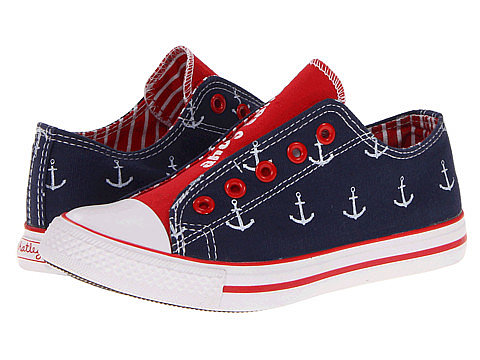 For your classically cool kid, Hatley Kids' nautical anchor sneakers ($32) feature navy and white anchors outside, and red and white stripes on the inside.
