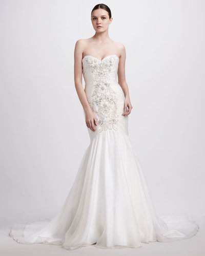 Theia Beaded Strapless Mermaid Gown