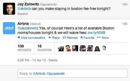 AirBnb said it would waive fees for those using the site to find housing.