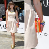 During Coachella's first weekend, Sophia Bush made her neutral H&M dress pop via a neon Lucite box clutch by CCSkye.