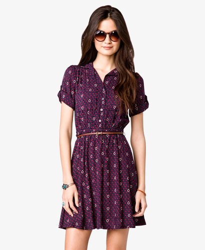 FOREVER 21 Ditsy Shirt Dress w/ Skinny Belt