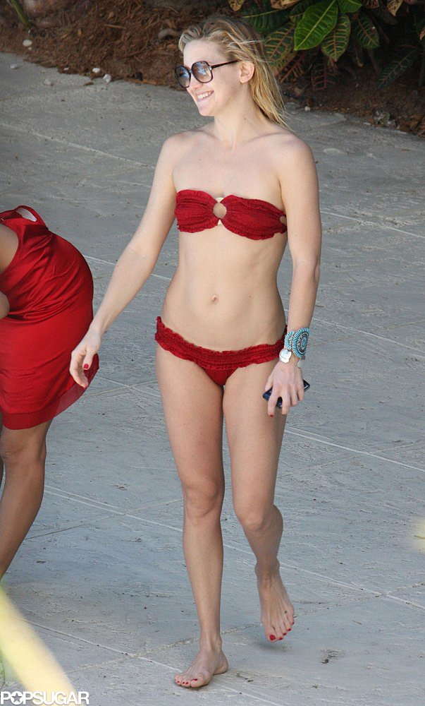 Kate Hudson made her way to Miami in March 2008, when she spent her pool time in a red Indah bikini.