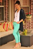 Mint Jeans with Navy and White