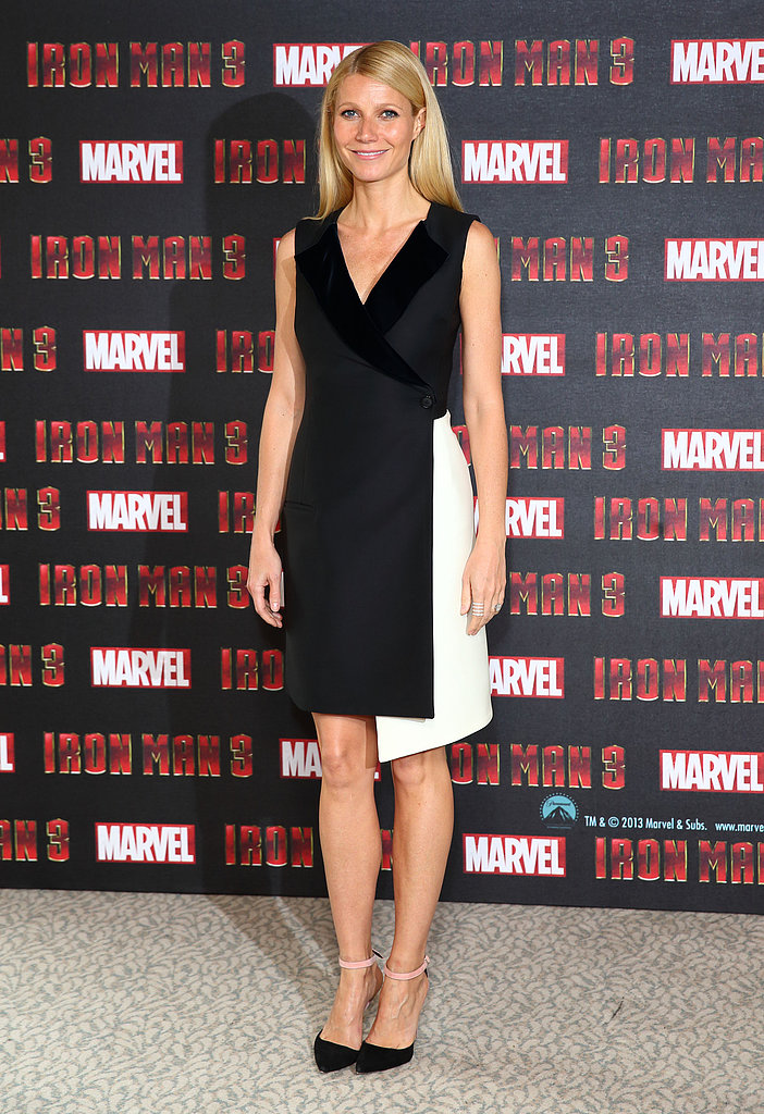 Gwyneth Paltrow chose a structural, asymmetrical-cut black and white Dior dress for the London photocall of Iron Man 3.