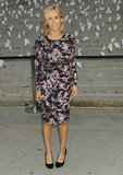 Tory Burch attended the Vanity Fair Tribeca Film Festival party in a long-sleeved graphic-print Bottega Veneta sheath, finishing it all off with classic black pumps.