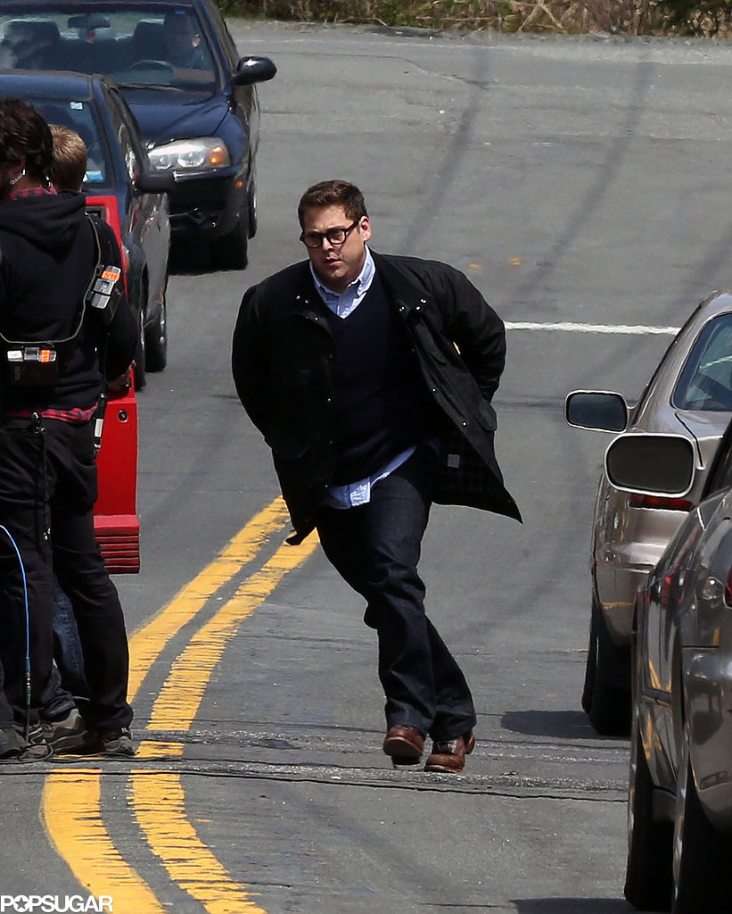 Jonah Hill ran through the streets of Sparkhill, NY, on Tuesday during scenes for his new movie True Story.