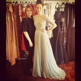 "Emmy Rossum got to ""play dress up"" with designer Jenny Packham and tried on some gowns from her recent runway collection. Source: Instagram user emmyrossum"
