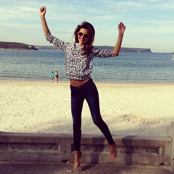 Miranda Kerr got some air while visiting Ba