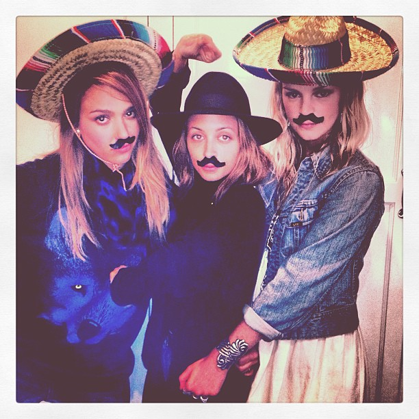 Jessica Alba, Nicole Richie, and Kelly Sawyer wore mustaches and sombreros while celebrating at an event. Source: Instagram user nicolerichie