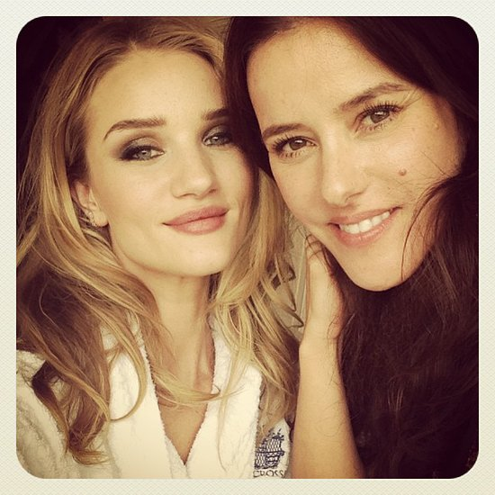 Rosie Huntington-Whiteley shared a snap with her makeup artist. Source: Instagram user rosiehw