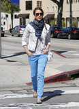 Jessica Alba topped her highlighter-blue denim with a Fluxus tank and a J Brand denim jacket while running errands. The actress accessorized her double denim look with a white crossbody bag, gray flats, and a blue leopard-print Theodora & Callum scarf.