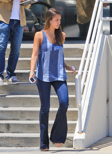 Jessica stuck with a blue color palette, pairing her wide-leg denim with a patchwork tank in LA.