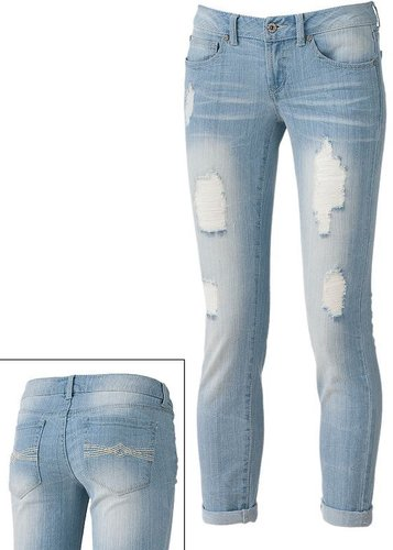 Mudd distressed skinny boyfriend jeans - juniors
