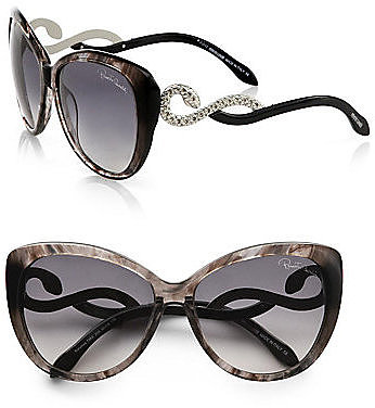 Roberto Cavalli Kurumba Glam Cat's-Eye Crystal Snake Sunglasses