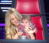 Baby Milan helped out mama Shakira on the set of The Voice. Source: Twitter user shakira