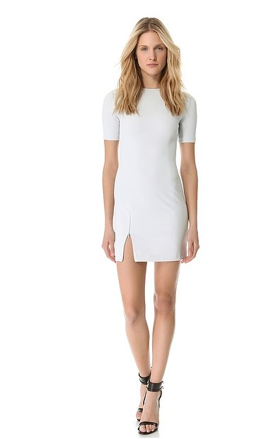 For the sexiest sheath dress cut, look to T by Alexander Wang's tech suiting dress ($350) with its subtle slit and body-con fit.