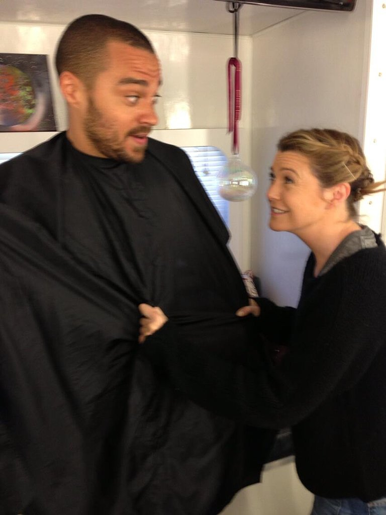 Ellen Pompeo tugged at her Grey's Anatomy costar Jesse Williams. Source: Twitter user EllenPompeo