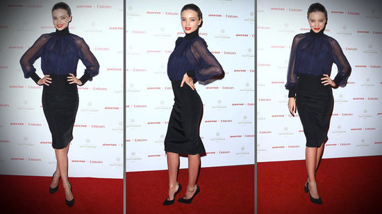 Miranda Kerr Gets Sexy Down Under in Sheer Black and Navy