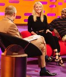 Gwyneth Paltrow appeared on The Graham Norton Show in a sleek black jumpsuit and strappy black heels. To finish, she added a black and gold belt at the waist.