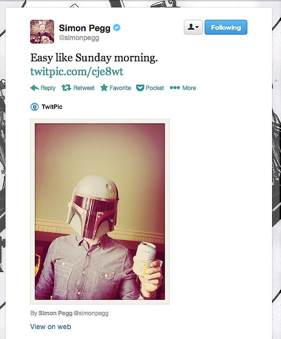 Actor Simon Pegg sports some typical Sunday cosplay: a denim shirt-wearing, San Pellegrino-drinking version of Boba Fett, the bounty hunter.