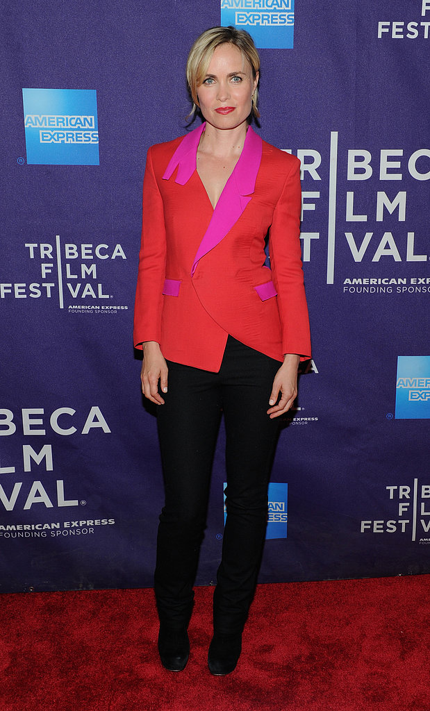 Radha Mitchell colorblocked with red and pink, providing a brighter twist on menswear-inspired dressing at the Gore Vidal: The United States of Amnesia premiere.