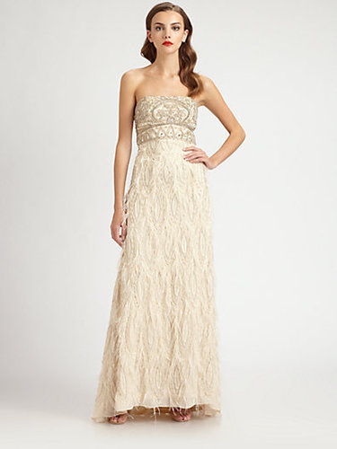 Sue Wong Strapless Feather-Trimmed Gown