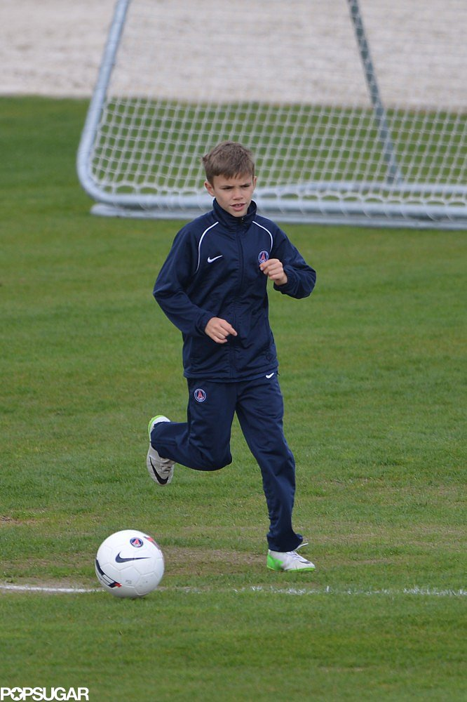 Romeo Beckham trained with his dad David Beckham's soccer club in Paris.