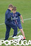 Romeo and Cruz Beckham trained with Paris Saint-Germain on Friday in Paris.