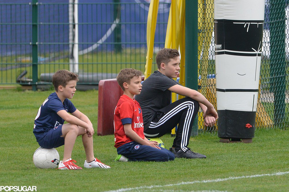 Brooklyn, Romeo, and Cruz Beckham took a break from training.