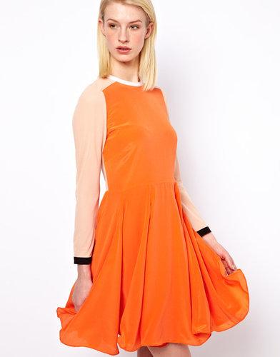 Antipodium Vector Dress In Orange Silk And Power Mesh