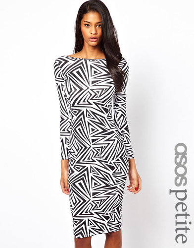 ASOS PETITE Exclusive Mono Body-Conscious Dress In ZigZag Mono Print