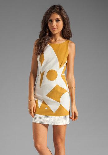 Plenty by Tracy Reese Resist Geometric Perforated Trim Shift Dress in Antelope/Bone