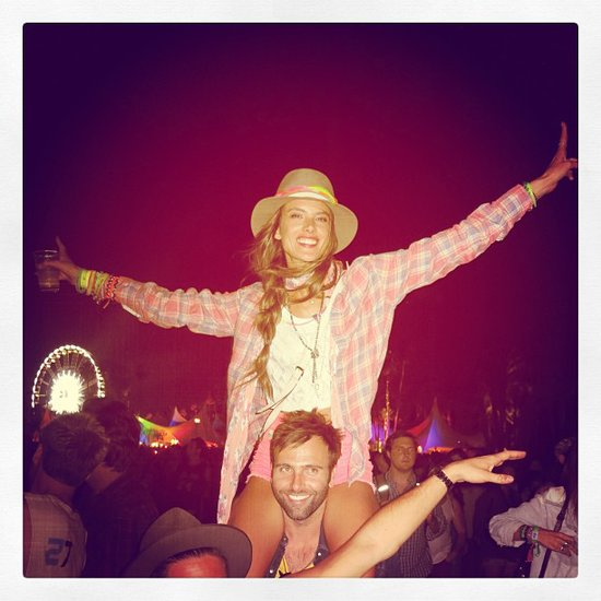 Alessandra Ambrosio got into the Coachella spirit during a show. Source: Instagram user alecambrosio