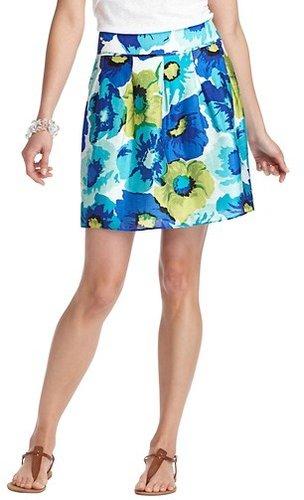 Petite Aqua Floral Print Full Skirt