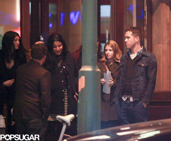 Gemma Arterton, Anna Kendrick, and Ryan Reynolds left dinner in Berlin.