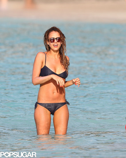Jessica Alba wore a shiny black bikini during a trip to St. Barts in April 2013.