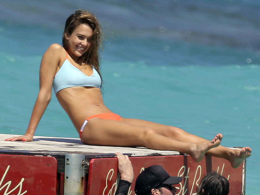 Jessica Alba relaxed on a floating raft in St. Barts back in April.