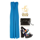 It's easy to turn your dress up a notch for nighttime activities while still keeping it simple — throw on a pair of fun, eye-catching heels and a couple of geometric gold cuffs. A black patent clutch looks sleek and sophisticated. Shop this look:  Halston Heritage Strapless Crepe Maxi Dress ($495) Alexis Bittar New Wave Overlapped Cuff ($155) Eddie Borgo Cluster Gold-Plated Cuff ($350) Alexander Wang Lydia Clutch ($650) Kenzo Crystal-Embellished Leather Sandals ($430)