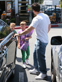 Mark Wahlberg opened the car door for his sons, Michael and Brendan, on Monday in LA.