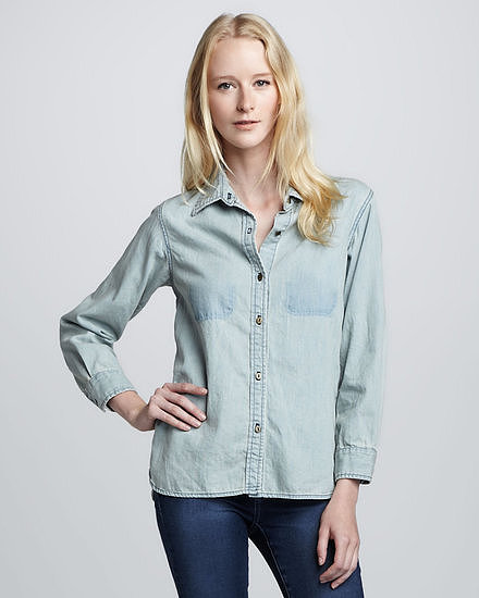 We've finally found the perfect denim shirt — no, really. You're looking at Current/Elliott's perfect denim shirt ($136, originally $228). We especially dig its vintage, worn-in feel.
